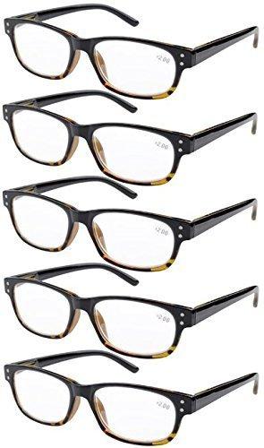 Eyekepper 5-pack Spring Hinges Vintage Reading Glasses Men Readers Black-Yellow Tortoise +2.0