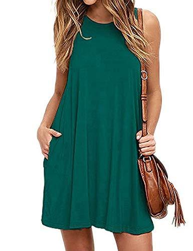 Bibowa Tank Top Dress Petite Summer Dresses for Women Dark Green XL]()