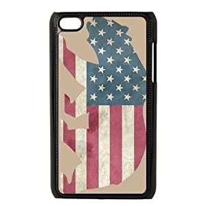 iPod Touch 4 Case Black American Flag Bear SP4188023