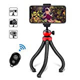 """WORNEW Camera/Phone Tripod, 12"""" Flexible Tripod Bluetooth Remote Control and Cell Phone Holder"""
