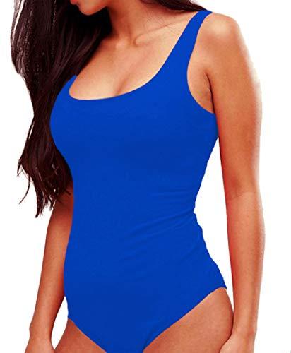 Blue Body Suit (SUNRO Women's Sexy Scoop Neck Bodysuits Jumpsuits (Blue,)