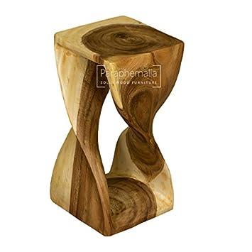Monkey Pod Wood Twist Stool / Table   Clear Wax Finish