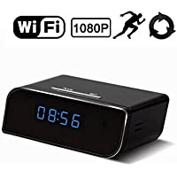 Wireless Wifi HD 1080P Hidden Camera Nanny Cam Hidden Camera Clock Motion Detection Camera Mini Spy Camera Real-time Monitoring Nanny Cam Supports Up to 64 GB Micro SD(SD Card Not Included)