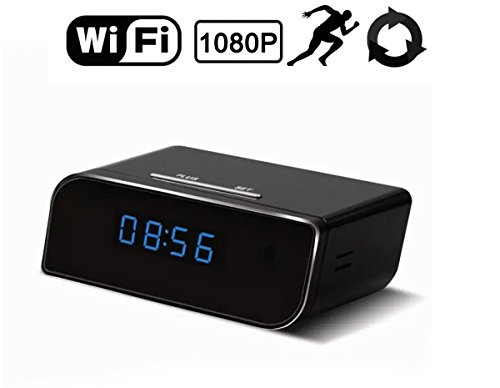 Wireless Wifi HD 1080P Hidden Camera Nanny Cam Hidden Camera Clock Motion Detection Camera Mini Spy Camera Real-time Monitoring Nanny Cam Supports Up to 64 GB Micro SD(SD Card Not - One Camera Sunglasses I