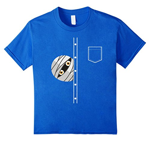 Kids Halloween Mummy Shirt Peeking Mummy Funny Pocket Tee 8 Royal Blue (Do It Yourself Mummy Costume)