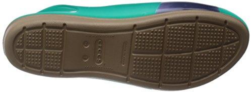 Crocs Teal abierto Colorblock plana talón de vvRxqf