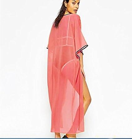 QFL Nuevo abrigo vestido/bohemio de playa vacaciones velo largo gasa capa bikini blusa mantillas sol , watermelon red ,: Amazon.es: Deportes y aire libre