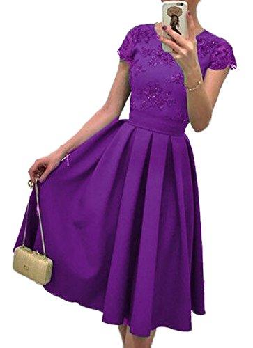 Da Pizzo Estivi Festa Partito Cocktail Vestiti Viola Vintage Donna Vestito In Elegante OUxpan