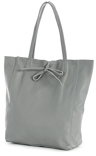 Medium Grey Leather (LiaTalia Genuine Italian Soft Leather Leightweight Large Hobo Shopper Shoulder bag with Protective Dust Bag - Astrid [Medium Grey])