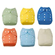 LAIMALA 6pack Baby Cloth Diaper ,Baby Reusable Washable All in one Size Cloth Pocket Diapers, Adjustable Snap