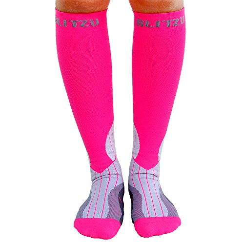 BLITZU Compression Socks 15-20mmHg for Men & Women BEST Recovery Performance Stockings for Running, Medical, Athletic, Edema, Diabetic, Varicose Veins, Travel, Pregnancy, Relief Shin Splint S/M Pink by BLITZU (Image #8)