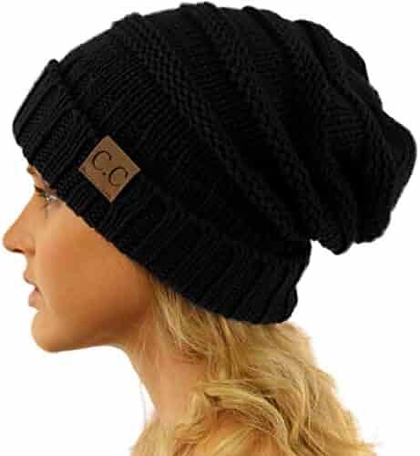 2f7442e4884 CC Winter Trendy Warm Oversized Chunky Baggy Stretchy Slouchy Skully Beanie  Hat