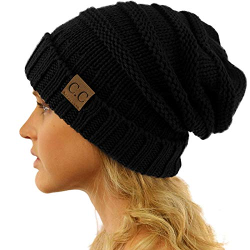 (Replacement for CC Winter Trendy Warm Oversized Chunky Baggy Stretchy Slouchy Skully Beanie Hat Black)