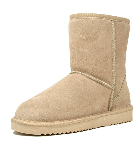DREAM PAIRS Women's Shorty Sand Sheepskin Fur Ankle High Winter Snow Boots - 12 M US (Womens Ultra Tall Sand)