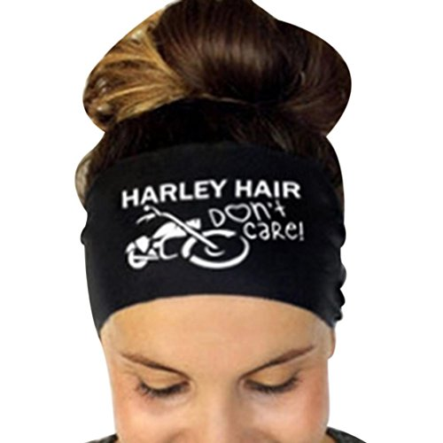 Tenworld Women Headband Elastic Hair Band Sweatband for Sports or Fashion, Yoga (Black, Harley - Slim For Sunglasses Face
