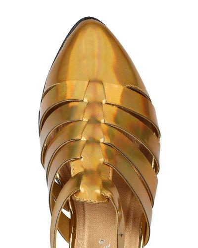 Breeze Kingston 01 Metallic Out Fisherman AG56 Cut Strappy Buckle Flat Leatherette Nature Women Gold HEqtdHa