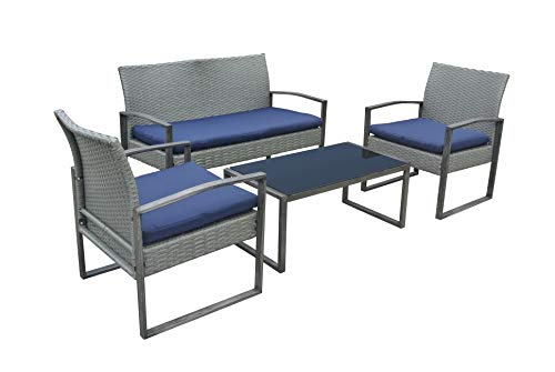(Stellahome Wicker Patio Furniture Outdoor Conversation Sets 4 Piece Cushioned Chairs Table Bistro Set for Porch, Poolside or Balcony)