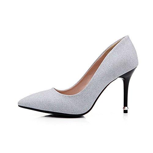 Di Materiali Argento Fusione Donne Solido Sottolineato Pull Chiusa Punta Delle on Tacchi calzature Pompe Weenfashion BxTwRq