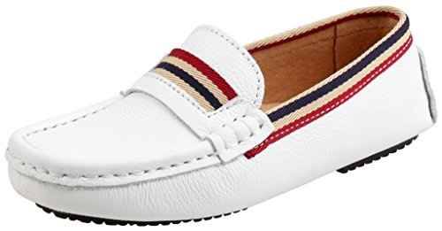 SKOEX Boy's Leather Slip On Loafers Strap Casual Boat Shoes Moccasins US size 12.5 White