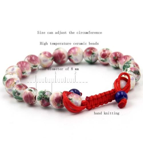 - Gozebra(TM) 8mm Peony Flower Ceramics Porcelain Tibet Buddhist Prayer Beads Mala Bracelet