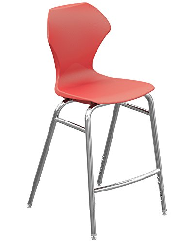 Marco Group Apex Series Adjustable Height Stool, Red Seat - Chrome Legs by Marco Group