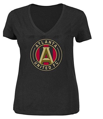 fan products of Atlanta United FC MLS Women Plus Size Logo T-shirt (Black, Plus 1X)
