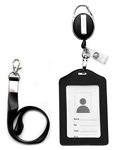 ID Card Case + Heavy Duty Lanyard (Black) + Badge Holder Retractable Reel Carabiner and Plastic Clip
