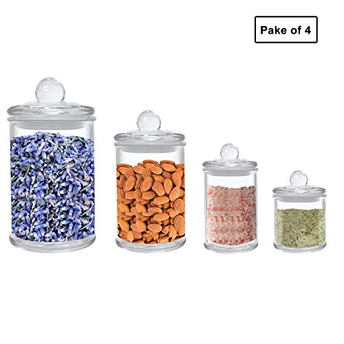 Airtight Glass jars Glass Food Storage jars Airtight Glass Canister Set of 4-25.4/12.5/5.1/4.1 OZ, Glass Food Jars BPA Free High Borosilicate Canisters Glass Cookies Jar Glass Canister with Lid, Cy (Small Glass Cookie Jars With Lids)