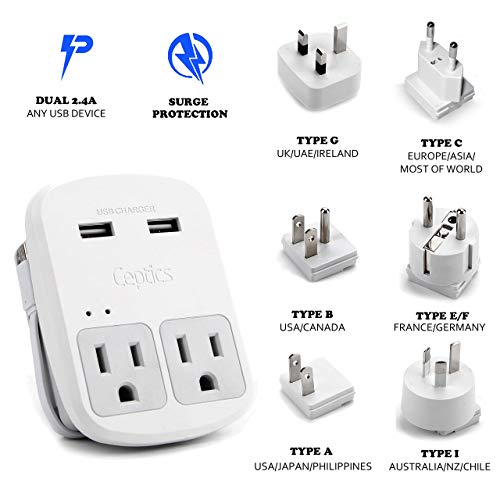 Ceptics World Travel Adapter Kit - 2 USB + 2 US Outlets, Surge Protection, Plug for Europe, UK, China, Australia, Japan - Perfect for Laptop, Cell Phones (Does Not Convert Voltage) (Renewed)