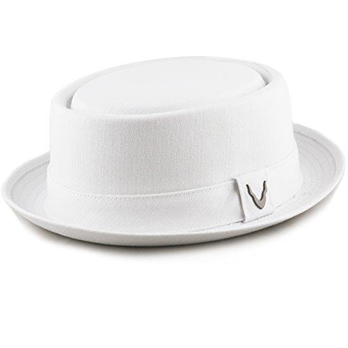 THE HAT DEPOT Black Horn Unisex Cotton Herringbone Pork Pie Hat (X-Large, - Fedora Herringbone
