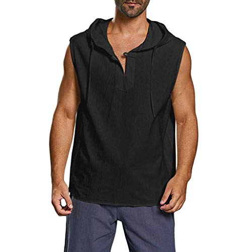 Pongfunsy Men's Summer Tank Tops Mens Plus Size Cotton Linen Tops Casual Solid Button Beach Sleeveless Hooded Shirt (L, Black) ()