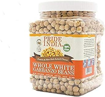 Orgullo de la India - habas enteras Blanco garbanzo - 1,5 lbs (680 g) Jar - se utiliza mejor en humus, guisos, ensaladas, sopas y chiles, etc. - gran ...