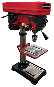 """PowerSmart PS310 12-Speed Drill Press with Laser Guide, 10"""", Red/Black"""