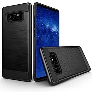 Samsung Galaxy Note 8 Slim Stylish Protective Brrushed Heavy Duty Shockproof case With 3D Curved Tempered Glass By JBQ - Black