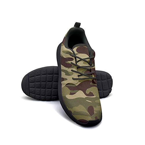 Classic Woodland Fashion Camouflage Black Sneakers for Women Slip Lightweight Running Shoes ()