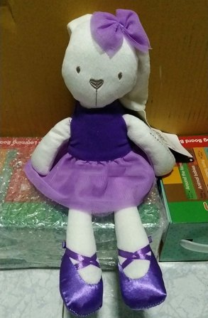 Stuffed Bunny Baby Plush Rabbit Doll Gifts,Mamas & Papas Millie Soft Toy, Size 46 11 cm. (Purple) (Soy Milk Costume)