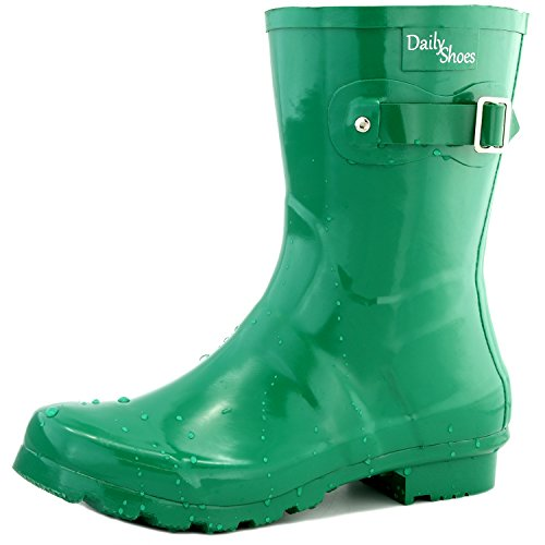 DailyShoes Damen Mittelkalb Schnalle Ankle High Hunter Regen Round Toe Rainboots Grün