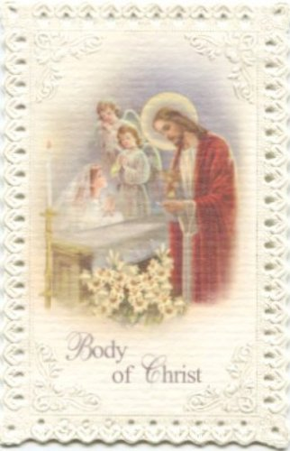 Kneeling Girl First Communion Lace Holy Card