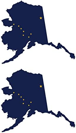 Two Pack Alaska State Shaped Flag Stickers FA Graphix Vinyl Decal