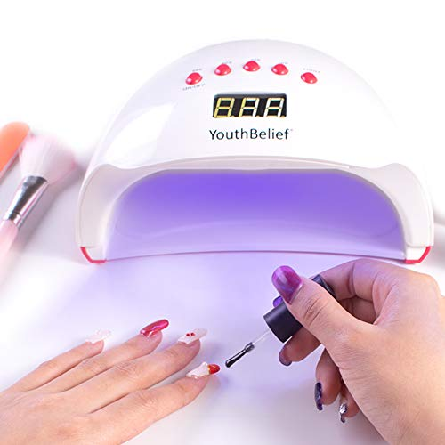 Memory Timer UV Nail Lamp LED Nail Dryer 5 Timer Settings with Magnifier & Headlamp Curing Lamps 48W for Gel Polish Auto Sensor for Toenail Polish Art Professional at Home Salon (Memory Timer) (Best At Home Gel Polish)