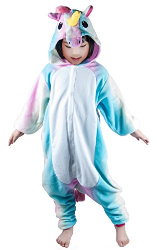 NEWCOSPLAY Sleepwear Unisex Kids Cartoon Christmas Halloween Costumes Unicorn Pajamas (125, blue stripe unicorn) for $<!--$21.99-->