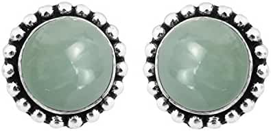 4.20ctw,8x8mmRound Genuine Gemstone & 925 Silver Plated Stud Earrings Made By Sterling Silver Jewelry