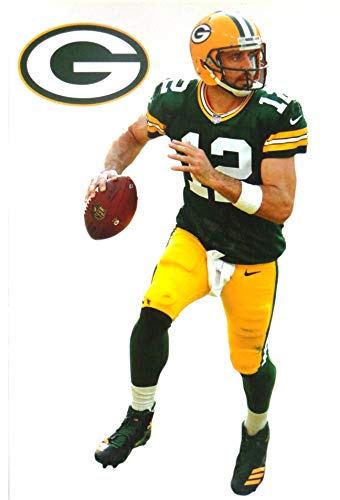 (Aaron Rodgers Mini FATHEAD Graphic + Green Bay Packers Logo Official NFL Vinyl Wall Graphics 7 INCH)