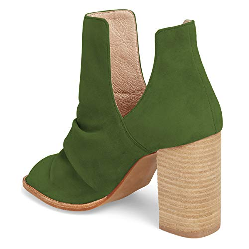 Women Out on Heel Boots Stacked Toe Olive Peep Shoes High Chic Cut Booties YDN Pull d4Ywzdq