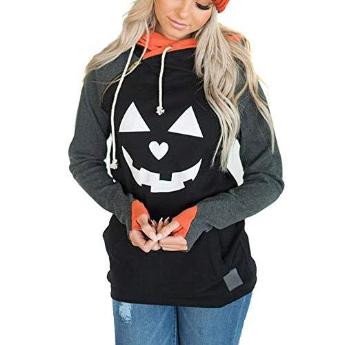 Adult Dinosaur Hoodie (Clearance!Connia Halloween Women Hoodie Sweatshirt Fall Gloves Sleeve Pumpkin Witch Print Blouse Tops (XXL,)