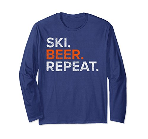 Unisex Vintage Ski Beer Repeat Funny Long Sleeve T Shirt Large Navy (Sleeve Long Funny Repeat)