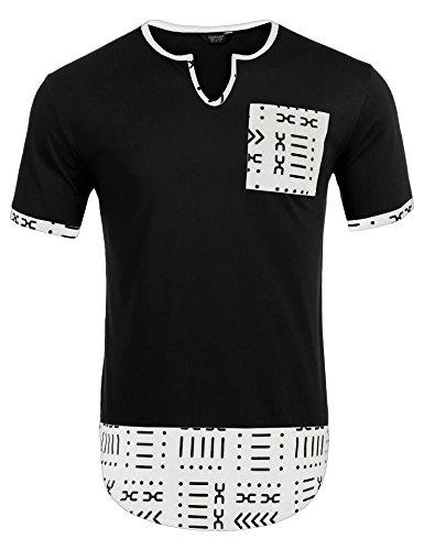 COOFANDY Mens Hipster Hip Hop Aztec Graphic Print Longline T-Shirt Stylish Designs V Neck Tee Shirt, Black, XX-Large by COOFANDY