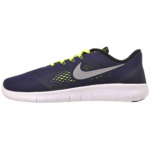 reputable site ee845 aaa4c Galleon - NIKE 833989-403  Free RN Youth(GS) Running Shoes Navy (Obsidian Metallic  Silver-Volt, 7 Y US)