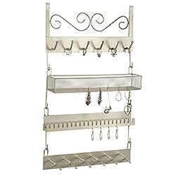 MyGift 4-Tier Brass-Tone Metal Wall Hanging Jewelry Organizer Rack
