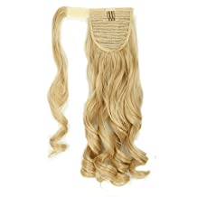 "18""22"" Curly Wavy Straight One Piece Clip in Ponytail Pony Tail Hair Extensions Any Color Clip Ins Hairpiece (18""-Curly, Dark Blonde Mix Bleach Blonde)"